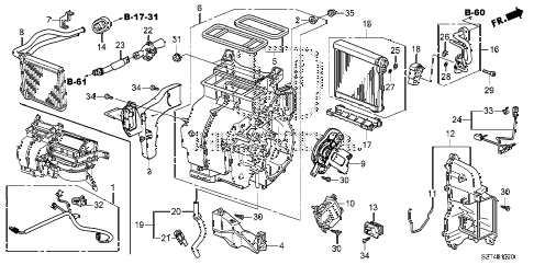2011 cr-z EX(NV) 3 DOOR CVT HEATER UNIT diagram
