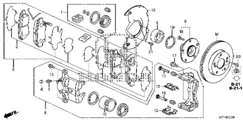2012 cr-z EX 3 DOOR CVT FRONT BRAKE diagram
