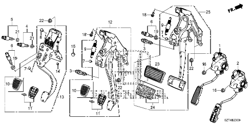 2012 cr-z EX 3 DOOR CVT PEDAL diagram