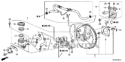 2011 cr-z EX 3 DOOR CVT BRAKE MASTER CYLINDER  - MASTER POWER diagram