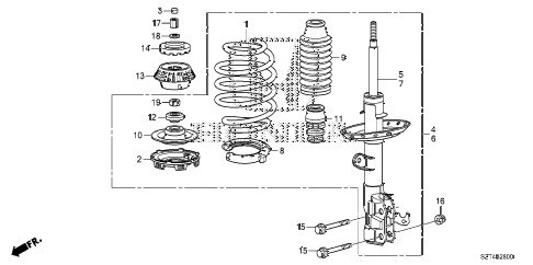 2011 cr-z EX(NV) 3 DOOR CVT FRONT SHOCK ABSORBER diagram