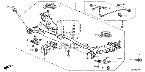 2011 cr-z EX 3 DOOR CVT REAR AXLE diagram