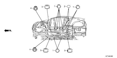 2011 cr-z EX 3 DOOR CVT GROMMET (LOWER) diagram