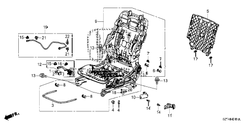 2011 cr-z EX(NV) 3 DOOR CVT FRONT SEAT COMPONENTS (L.) (MANUAL HEIGHT) diagram