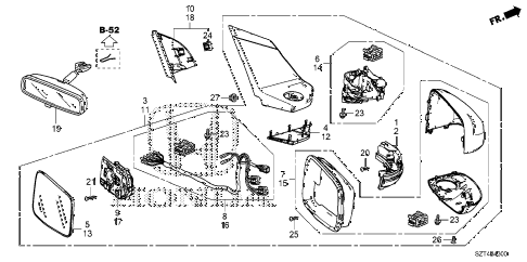 2012 cr-z EX(NV) 3 DOOR CVT MIRROR diagram