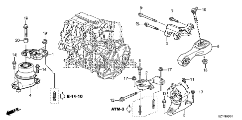 2011 cr-z EX 3 DOOR CVT ENGINE MOUNTS (CVT) diagram