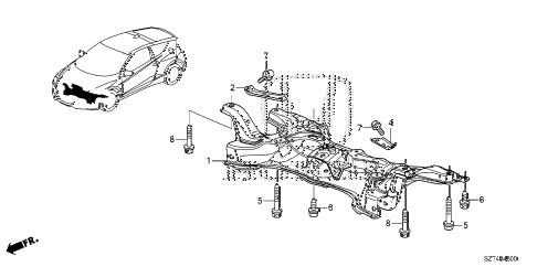 2011 cr-z EX 3 DOOR CVT FRONT SUB FRAME diagram