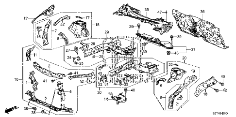 2012 cr-z EX 3 DOOR CVT FRONT BULKHEAD - DASHBOARD diagram