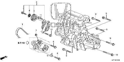 2011 cr-z EX 3 DOOR CVT AUTO TENSIONER diagram
