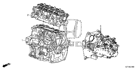 2011 cr-z EX(NV) 3 DOOR CVT ENGINE ASSY. - TRANSMISSION ASSY. diagram