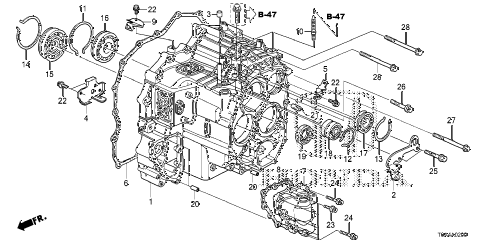 2013 cr-v EX(2WD) 5 DOOR 5AT AT TRANSMISSION CASE (5AT) diagram