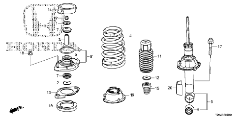 2012 cr-v EX-L(2WD LEATHER) 5 DOOR 5AT REAR SHOCK ABSORBER diagram