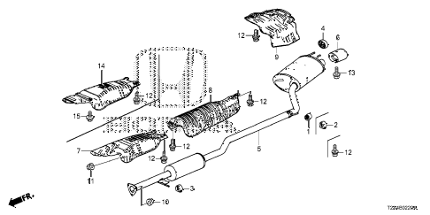 2013 accord LX 4 DOOR CVT MUFFLER (1) diagram