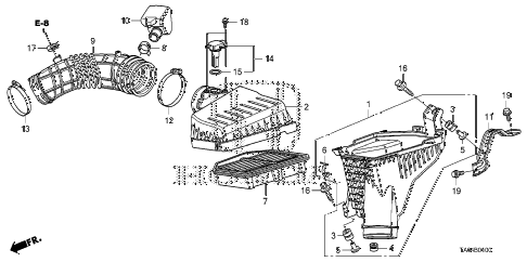 2009 accord EX-L(NAVI) 4 DOOR 5MT AIR CLEANER (L4) diagram