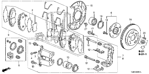 2009 accord EX-L(NAVI) 4 DOOR 5MT FRONT BRAKE (2) diagram
