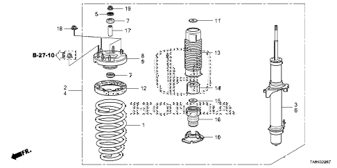 2010 accord EX-L 4 DOOR 5MT FRONT SHOCK ABSORBER diagram