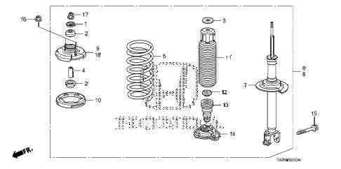 2010 accord LX+ 4 DOOR 5MT REAR SHOCK ABSORBER diagram