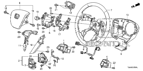 2009 accord EX 4 DOOR 5MT STEERING WHEEL (SRS) diagram