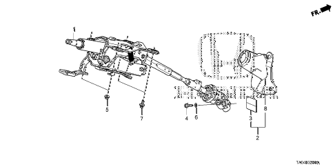 2008 accord LX+ 4 DOOR 5MT STEERING COLUMN diagram