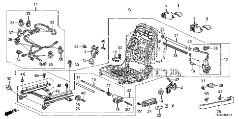 2010 accord LX+ 4 DOOR 5MT FRONT SEAT COMPONENTS (L.) (FULL POWER SEAT) (1) diagram