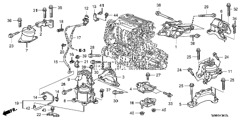 2010 accord EX-L(NAVI) 4 DOOR 5MT ENGINE MOUNTS (L4) (MT) diagram
