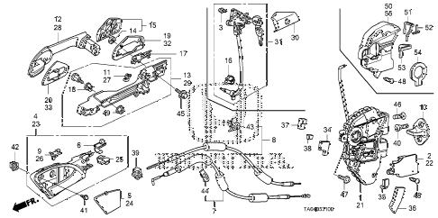 2008 accord EX 4 DOOR 5MT FRONT DOOR LOCKS - OUTER HANDLE diagram