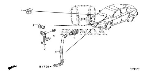 2008 accord EX-L(NAVI) 4 DOOR 5MT A/C SENSOR diagram