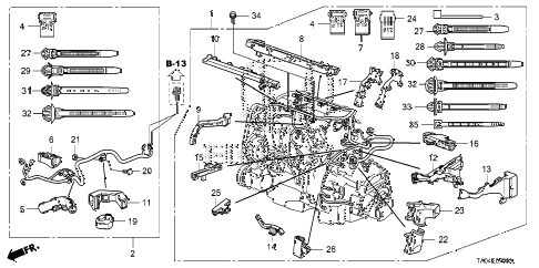 2010 accord EX-L(NAVI) 4 DOOR 5MT ENGINE WIRE HARNESS (L4) diagram