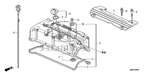 2008 accord LX+ 4 DOOR 5MT CYLINDER HEAD COVER (L4) diagram