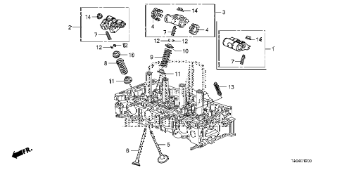 2010 accord EX-L(NAVI) 4 DOOR 5MT VALVE - ROCKER ARM (L4) diagram