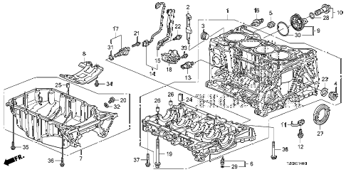 2010 accord EX 4 DOOR 5MT CYLINDER BLOCK - OIL PAN (L4) diagram