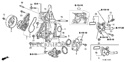 2010 accord LX+ 4 DOOR 5MT WATER PUMP (L4) diagram