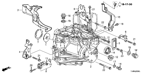 2008 accord EX 4 DOOR 5MT MT TRANSMISSION CASE (L4) diagram