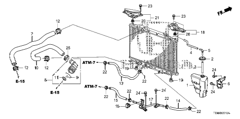 2010 accord LX-S 2 DOOR 5MT RADIATOR HOSE - RESERVE TANK (L4) diagram