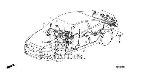 2009 accord EX 2 DOOR 5MT WIRE HARNESS (2) diagram
