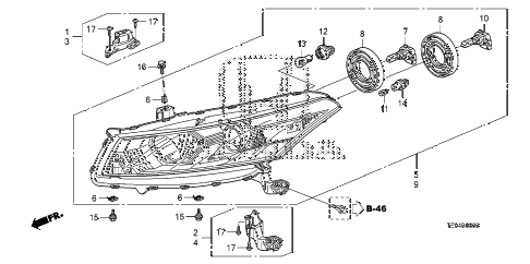 2009 accord EX-L 2 DOOR 5MT HEADLIGHT diagram