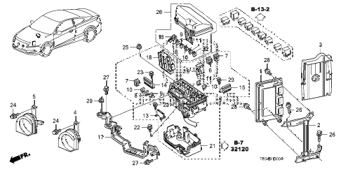 2010 accord EX-L(NAVI) 2 DOOR 5MT CONTROL UNIT (ENGINE ROOM) (1) (L4) diagram