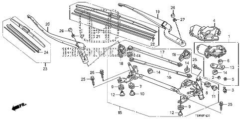 2008 accord EXL-V6(NAVI) 2 DOOR 6MT FRONT WINDSHIELD WIPER diagram