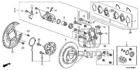 2009 accord EXL-V6 2 DOOR 6MT REAR BRAKE diagram