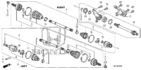2008 accord EXL-V6 2 DOOR 6MT DRIVESHAFT - HALF SHAFT (V6) (MT) diagram