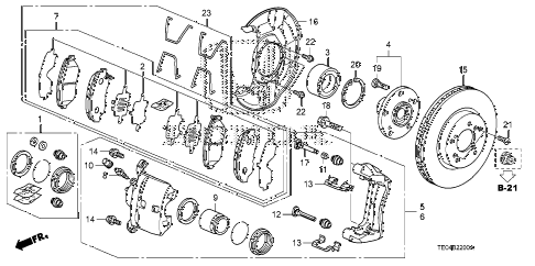 2011 accord LX-S 2 DOOR 5MT FRONT BRAKE (1) diagram