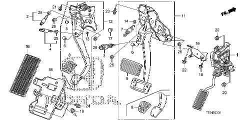 2011 accord EX 2 DOOR 5MT PEDAL diagram