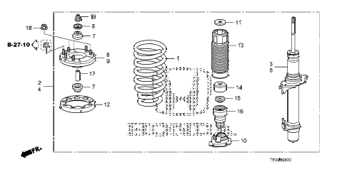 2008 accord EX 2 DOOR 5MT FRONT SHOCK ABSORBER diagram