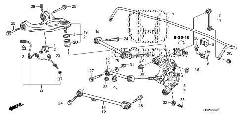 2009 accord EX 2 DOOR 5MT REAR LOWER ARM diagram