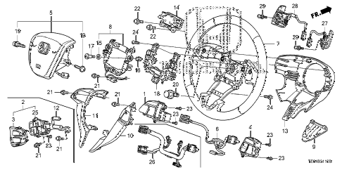 2009 accord EXL-V6 2 DOOR 6MT STEERING WHEEL (SRS) diagram