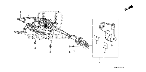 2010 accord EX-L(NAVI) 2 DOOR 5MT STEERING COLUMN diagram