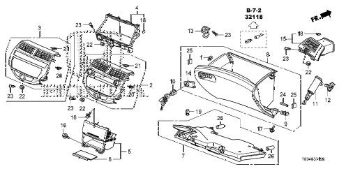 2008 accord EXL-V6 2 DOOR 6MT INSTRUMENT PANEL GARNISH (PASSENGER SIDE) diagram