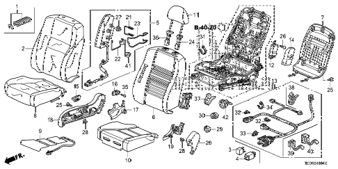 2008 accord EXL-V6 2 DOOR 6MT FRONT SEAT (R.) diagram