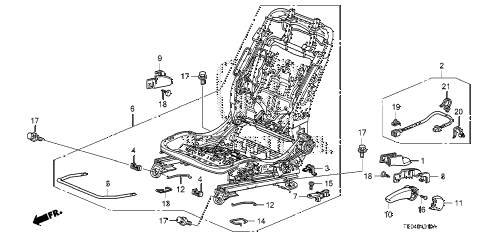 2010 accord EX 2 DOOR 5MT FRONT SEAT COMPONENTS (L.) (MANUAL HEIGHT) diagram