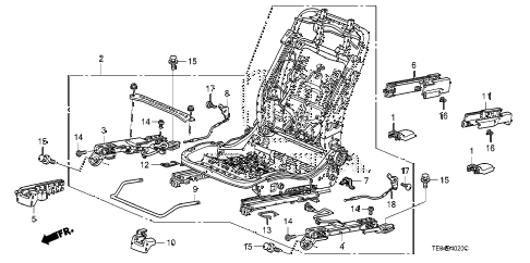 2009 accord EXL-V6 2 DOOR 6MT FRONT SEAT COMPONENTS (R.) diagram